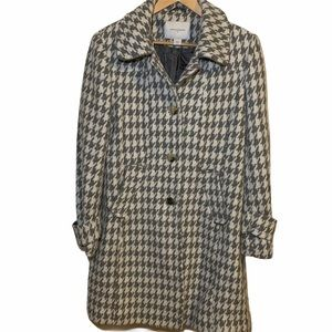 JACLYN SMITH Wool Blend Houndstooth Long Coat
